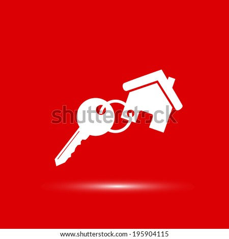Vector icon Key icon from the house, vector illustration. Flat design style - stock vector