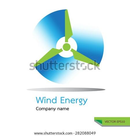 vector icon made  wind turbine symbols. wind energy logo design concept. - stock vector