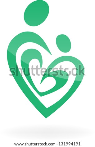 vector icon mother and child. Company logo design. - stock vector
