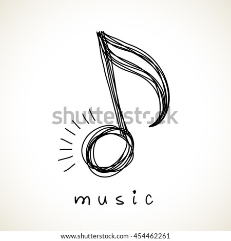 Vector Icon Music Note Doodle Logo Stock Vector   Shutterstock