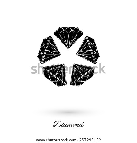 Vector icon of a diamond flower with shadow, painted with brush strokes. Black gemstones.