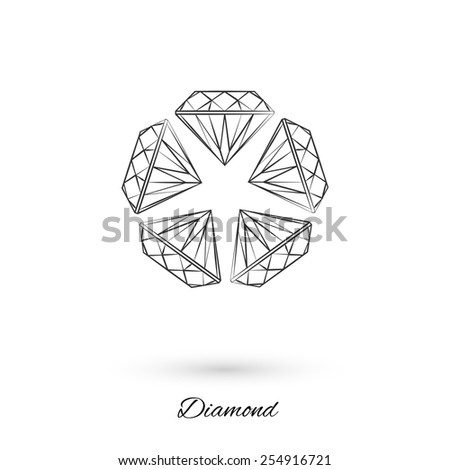 Vector icon of a diamond with shadow, painted with brush strokes. Gemstone.