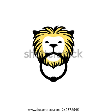 Vector icon of a lion doorknocker.
