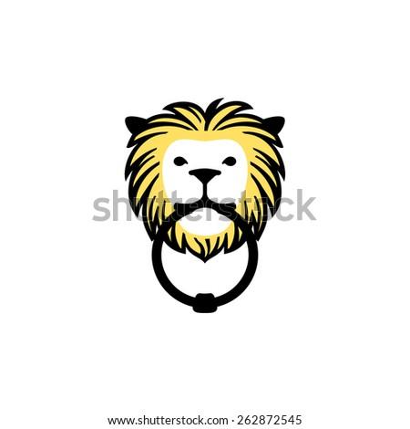Vector icon of a lion doorknocker. - stock vector