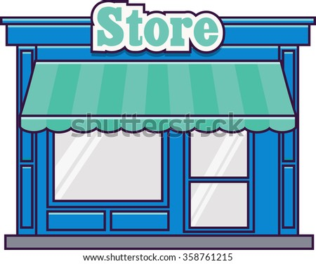Vector Icon of a shop store in flat style - stock vector