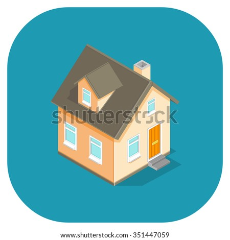 Vector icon of a small house. A vector icon illustration home. Small residential built structure. - stock vector