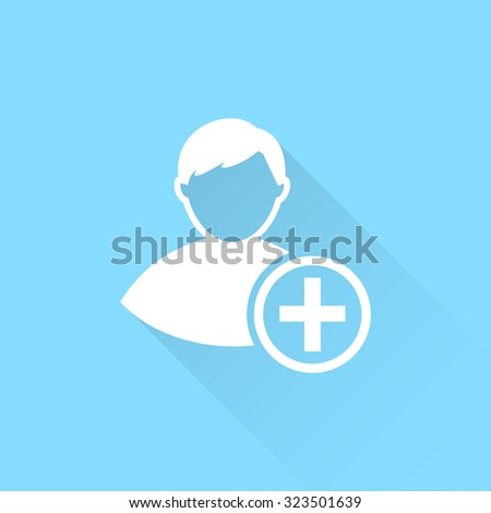 Vector icon of add friend contact.  - stock vector