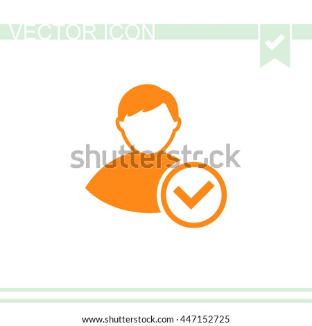 Vector icon of add friend contact. Avatar symbol.