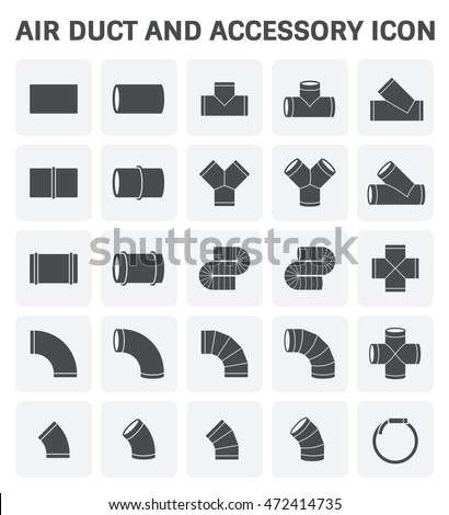 Vector icon of air duct pipe fitting or pipe connector for air conditioning or HVAC system.