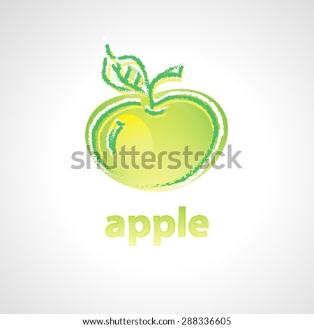 Vector icon of apple hand drawn with colorful chalk style - stock vector