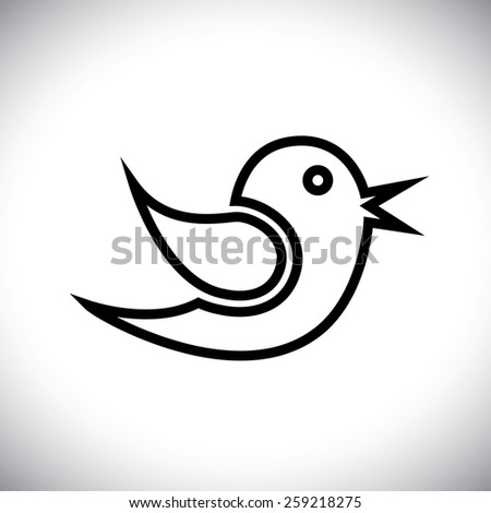 vector icon of bird outline communicating messages on internet, mobile phones, social media sites - social media graphic - stock vector