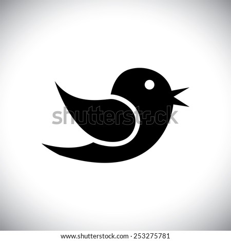 vector icon of bird silhouette communicating on internet, mobile phones, social media sites - social media graphic - stock vector