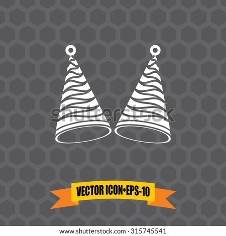 Vector Icon of Birthday Cap on Dark Gray Background. Eps.10.
