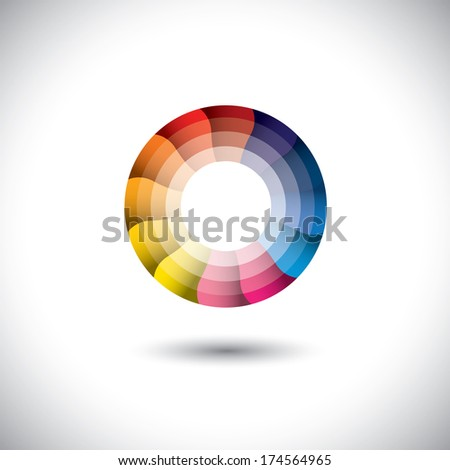 vector icon of bright colorful trendy modern circle. This graphic illustration represents a wheel with colorful parts in motion - stock vector