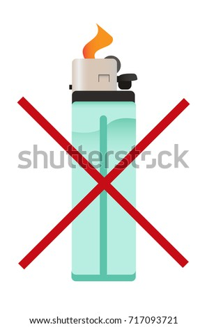 vector icon crossed out cigarette lighter stock vector 717093721 rh shutterstock com