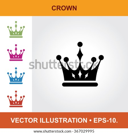 Vector Icon Of Crown With Title & Small Multicolored Icons. Eps-10.