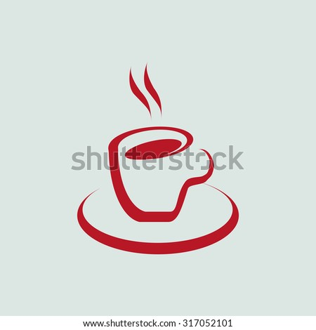 Vector icon of cup of coffee. Flat design style. - stock vector
