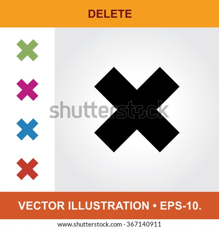 Vector Icon Of Delete With Title & Small Multicolored Icons. Eps-10. - stock vector