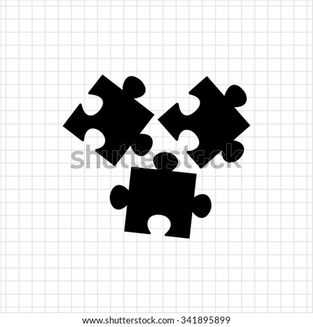 Vector icon of disconnected puzzle elements