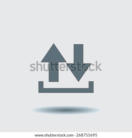 Vector icon of download,  arrow icon, vector illustration. Flat design style. - stock vector
