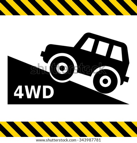 Vector icon of four wheel drive car moving up hill