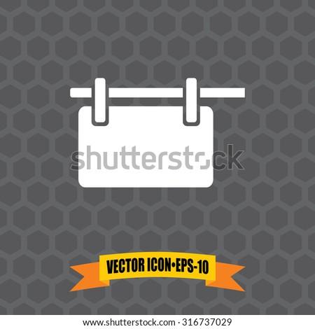 Vector Icon of Hanging Billboard on Dark Gray Background. Eps.10. - stock vector