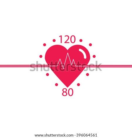 Vector icon of healthy heart, blood pressure, healthy pulse. Logo cardiology clinic.  Vector. - stock vector