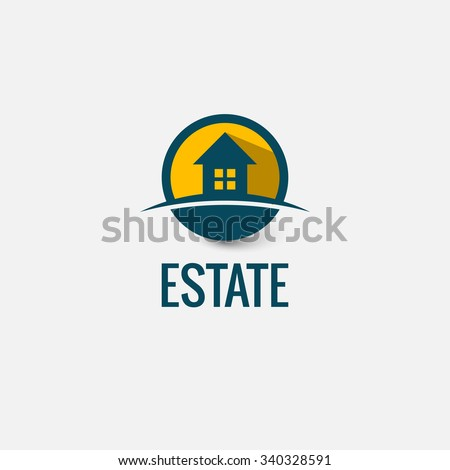 Vector icon of house. Investment, construction, sale, lease. Real estate activities. New eco-friendly social housing. - stock vector