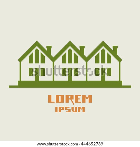 Vector icon of houses. Logo design template. Green sign of real estate. View of street with group of cottages.Illustration for print, web - stock vector