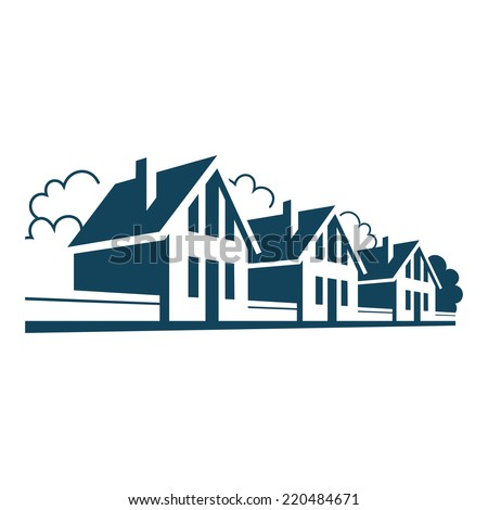 Vector icon of houses. Logo design template. Sign of real estate. Perspective view of street with group of cottages, trees, fences. Illustration for print, web - stock vector