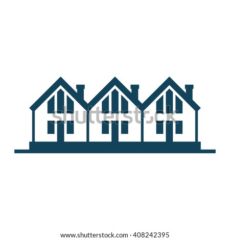 Vector icon of houses. Logo design template. Sign of real estate. View of street with group of cottages.Illustration for print, web - stock vector