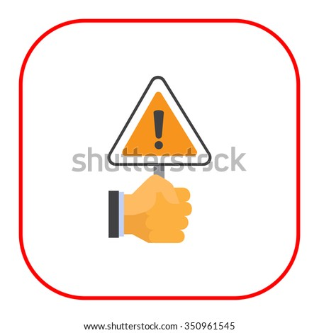 Vector icon of human hand holding triangular warning sign