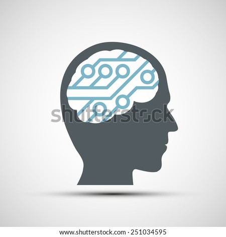 Vector icon of human head with a computer chip - stock vector