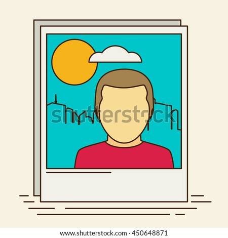 Vector icon of instant photo frame with man and city planescape - stock vector