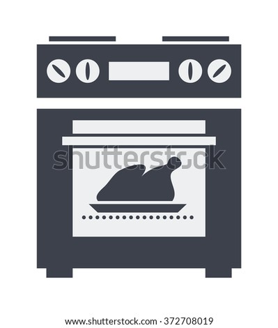vector icon of kitchen electric oven with grilled chicken or turkey inside - stock vector
