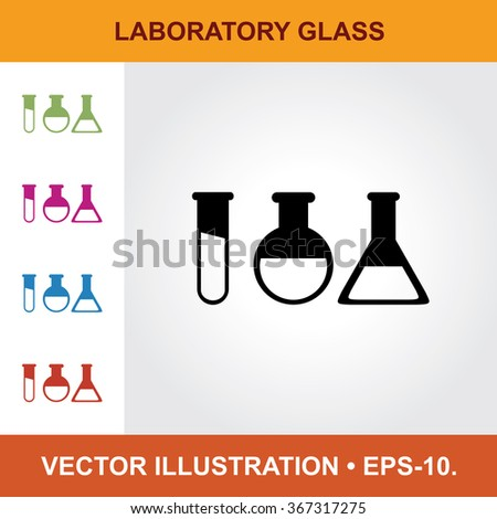 Vector Icon Of Laboratory Glass With Title & Small Multicolored Icons. Eps-10.