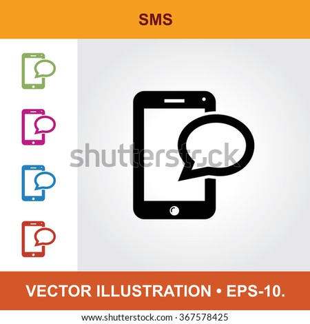 Vector Icon Of Mobile Phone With Title & Small Multicolored Icons. Eps-10. - stock vector