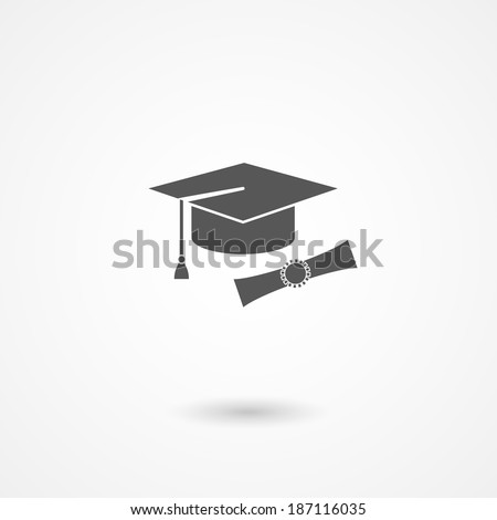 Vector icon of mortarboard or graduation cap and diploma conceptual of education, knowledge, expertise and completion of studies with bachelors or doctoral degree - stock vector