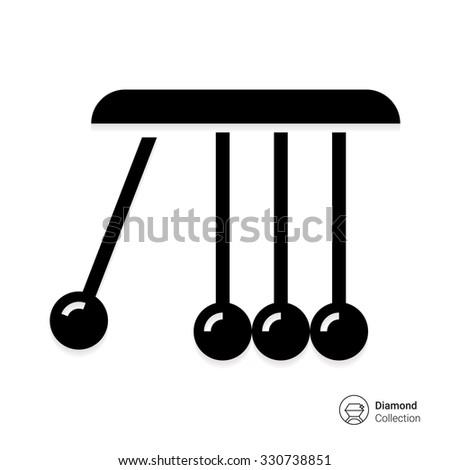 Vector icon of Newton cradle balancing balls - stock vector