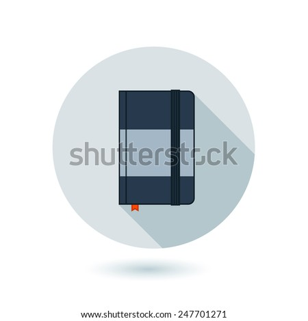 Vector icon of notebook for business on gray circle with long shadow - stock vector