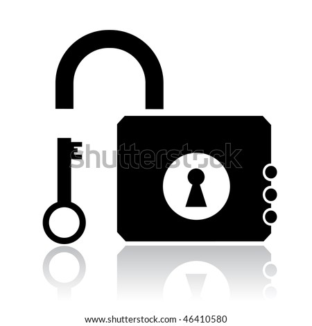 vector icon of opened lock and key - stock vector