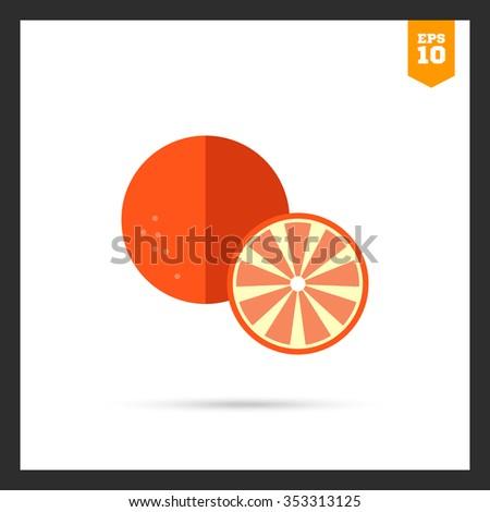 Vector icon of orange and cut orange half - stock vector
