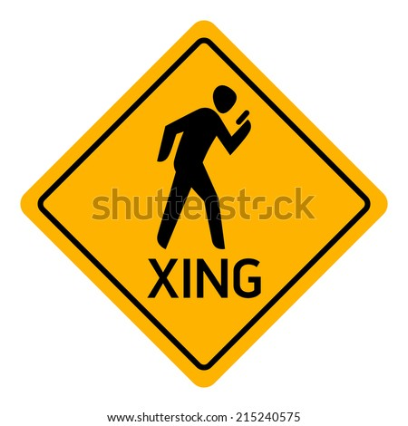 Vector icon of pedestrian using his cell phone crossing sign | Mobile phone user crossing | Texting pedestrian crossing warning sign  - stock vector