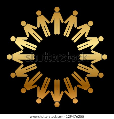 Vector icon of people standing in a circle - stock vector