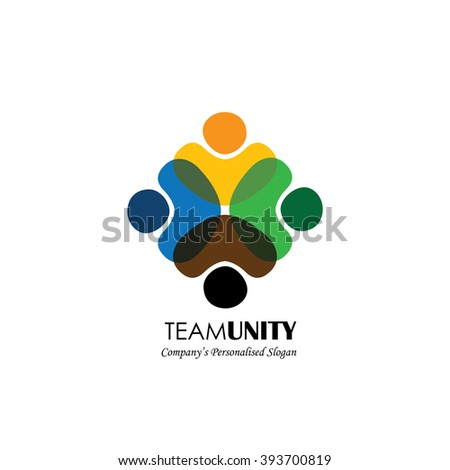vector icon of people together - sign of unity, partnership. This also represents diversity, community, engagement, interaction, teamwork, team, children, kids, employees - stock vector