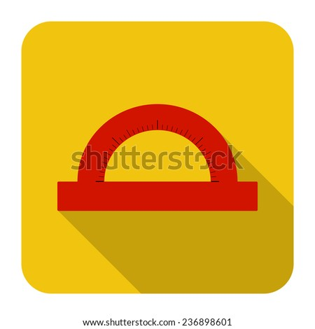 vector icon of protractor in flat design - stock vector
