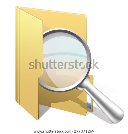 Vector icon of search with yellow folder  and magnifying glass - stock vector