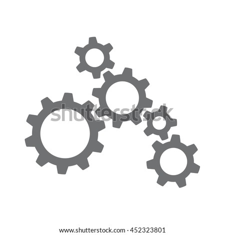 Vector icon of several machinery cogs and gears working together - stock vector