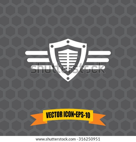 Vector Icon of Shield & Wings on Dark Gray Background. Eps.10. - stock vector