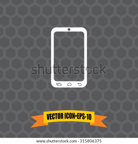 Vector Icon of Smart Phone on Dark Gray Background. Eps.10. - stock vector